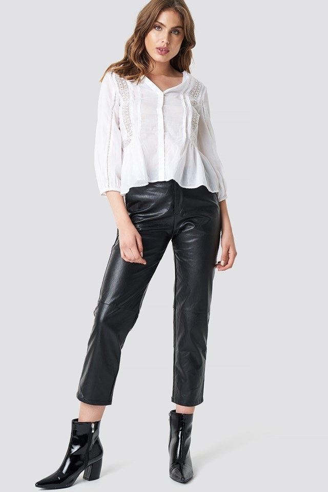 White Blouse X Leather Pant Outfit