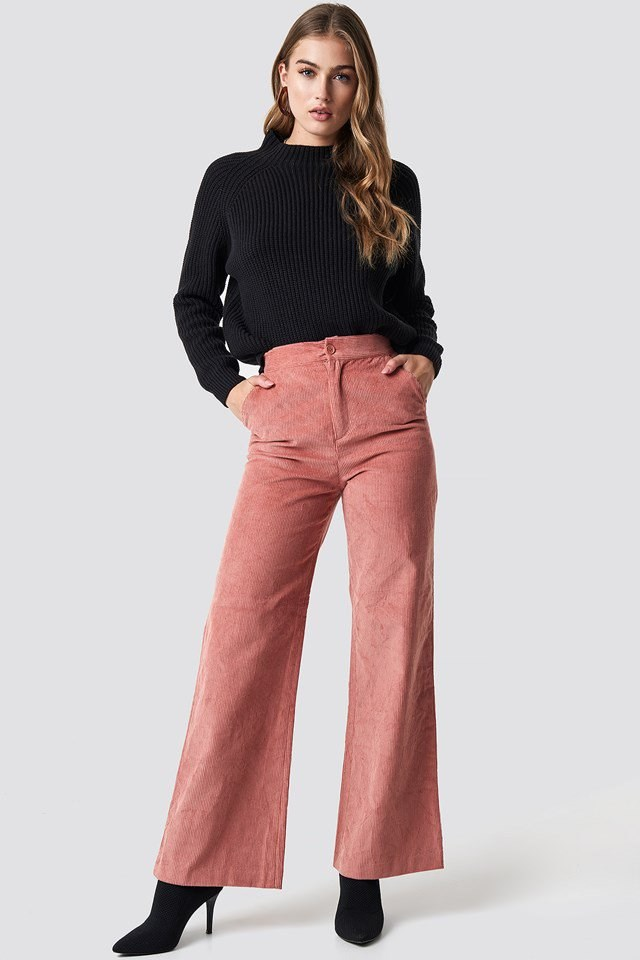 Black Knit X Corduroy Pants Outfit