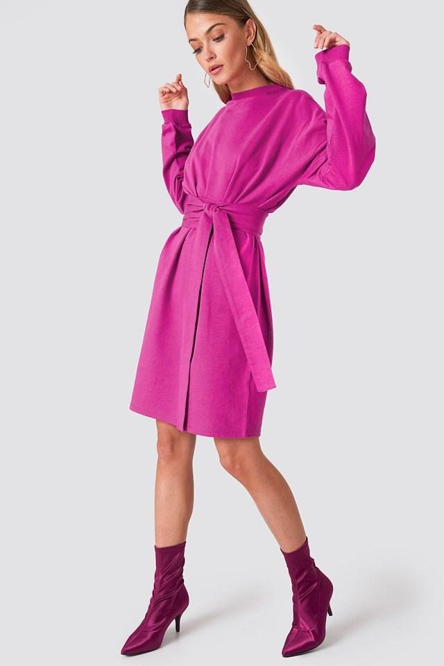 Tied Waist Oversize Dress