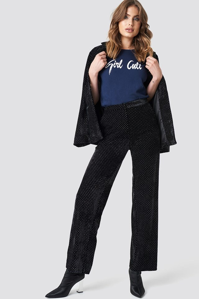 Galore T-Shirt with Velvet Pants Outfit.