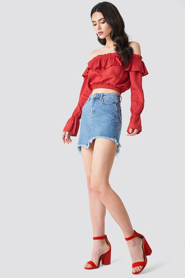 Red Flounce Off Shoulder on Denim Skirt