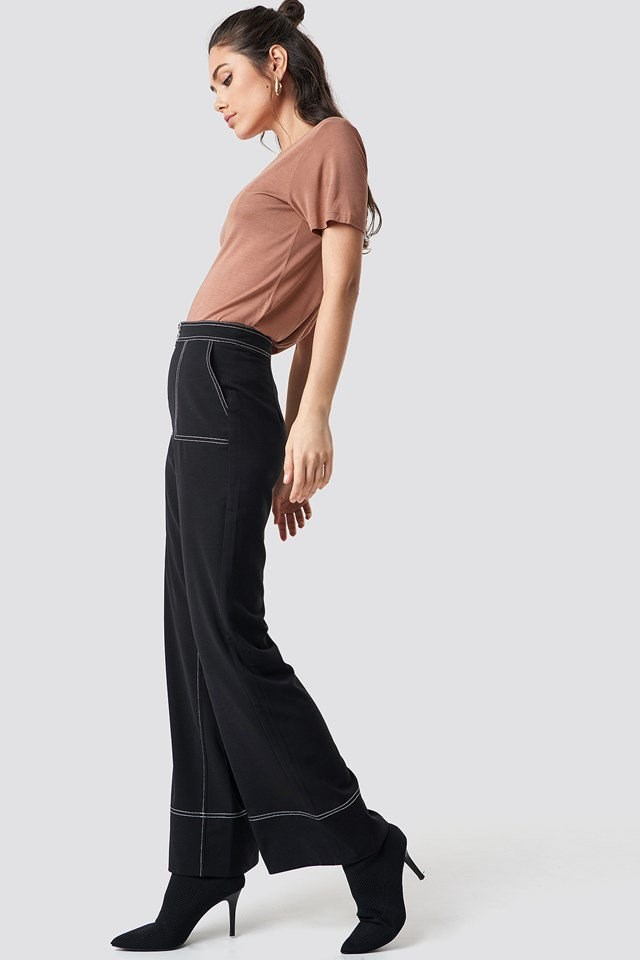 V Neck Pink Tee X Trouser Outfit