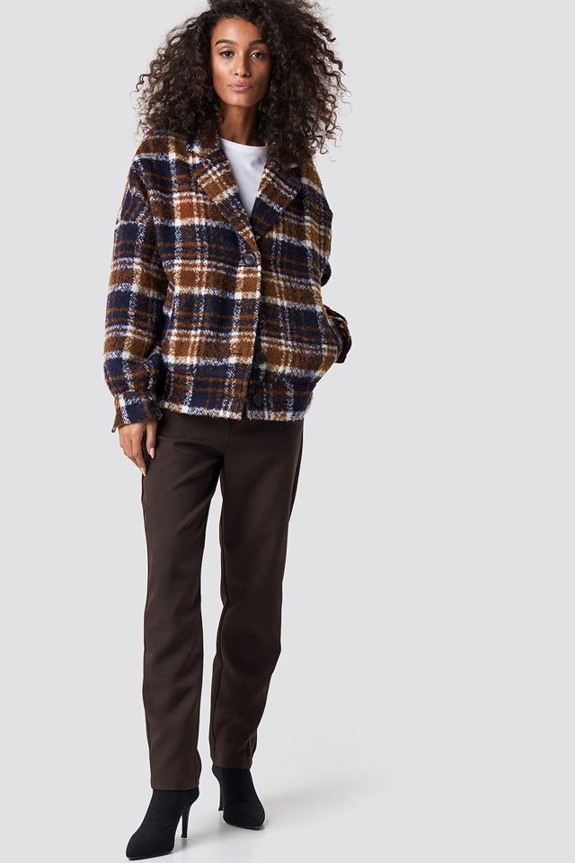Brown Pant X Checkered Jacket Outfit
