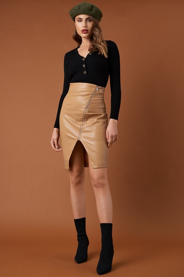 Ribbed Buttoned Sweater and Front Zipper PU Skirt