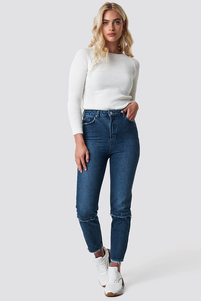 Tassel Detailed High Waist Mom Jeans and Milla Sweater