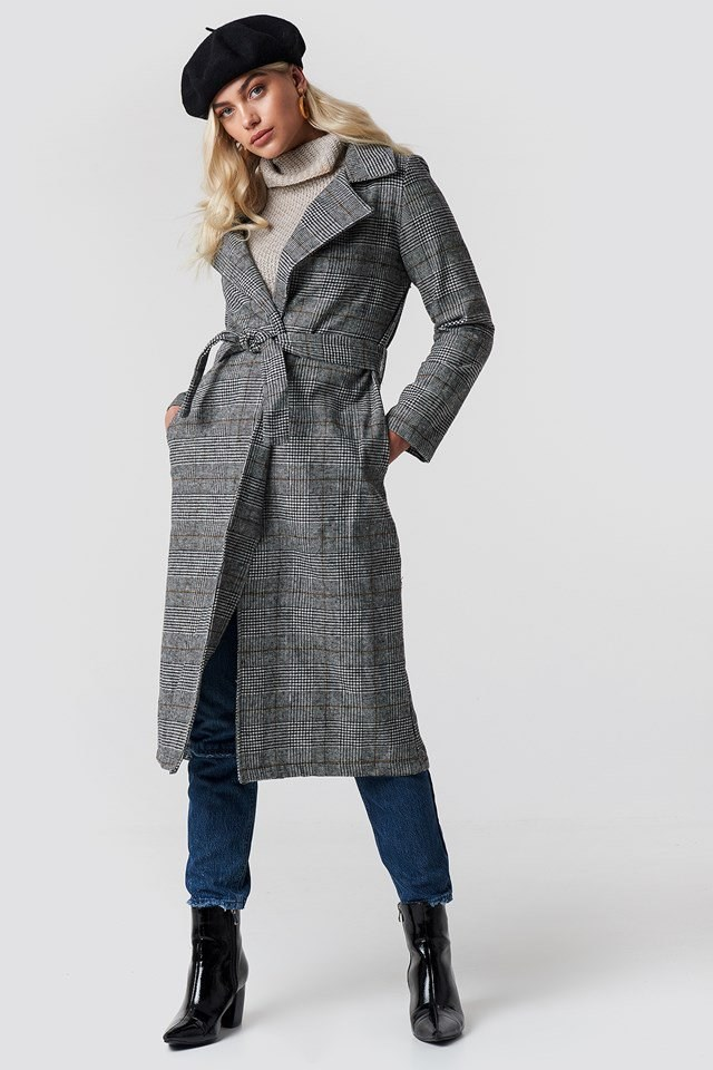 Belted Overcoat and Knit Detailed Sweater