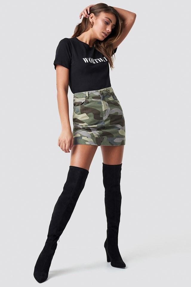 Camo Skirt and Worth It Tee