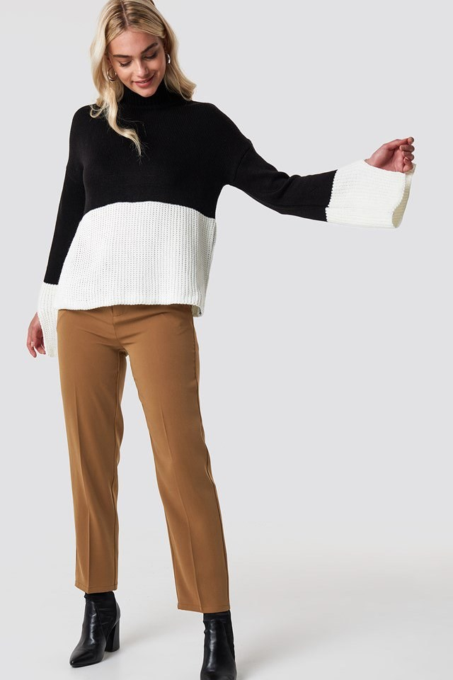 Block Colored High Neck Jumper