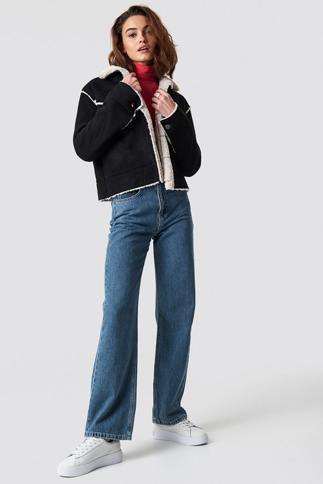 Shearling Jacket and High Waist Flared Jeans