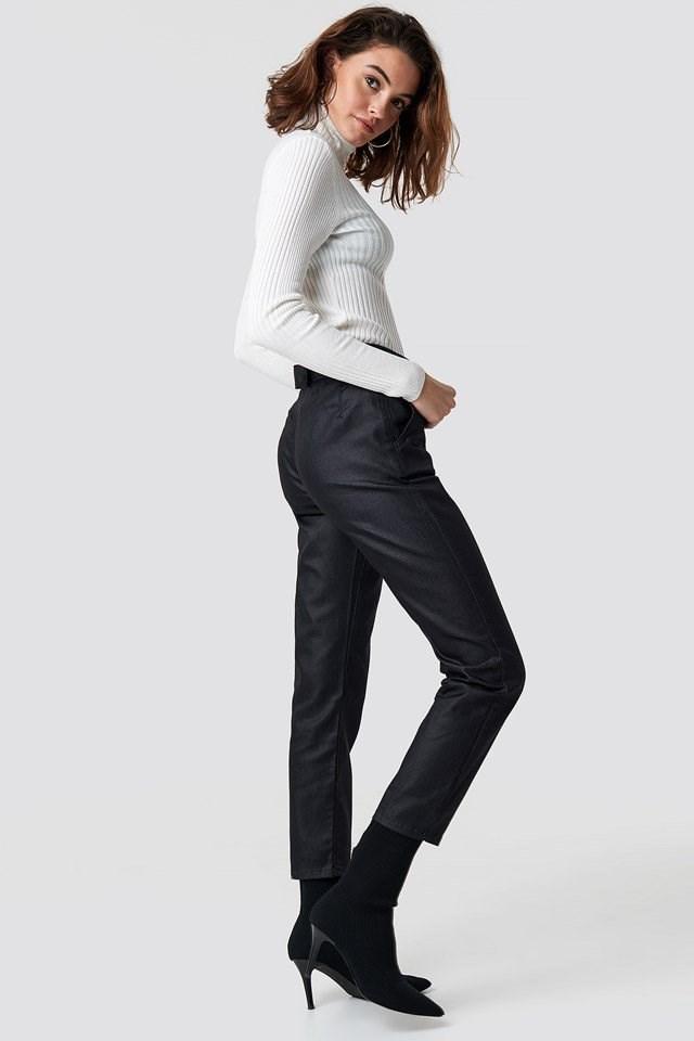 Ring Binding Detailed High Waist Jeans