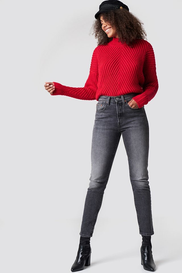 Rib Knitted High Neck Jumper
