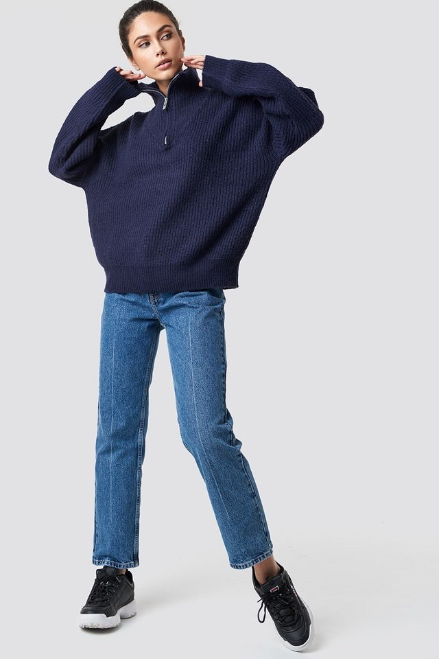 Front Zipper Knitted Sweater