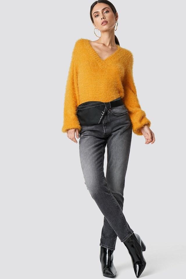 Hairy Deep V-neck Sweater