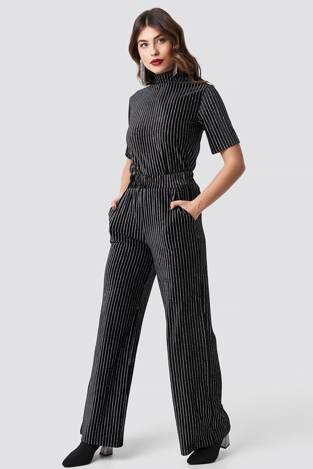 Striped Glittery Velvet Pants Black Outfit