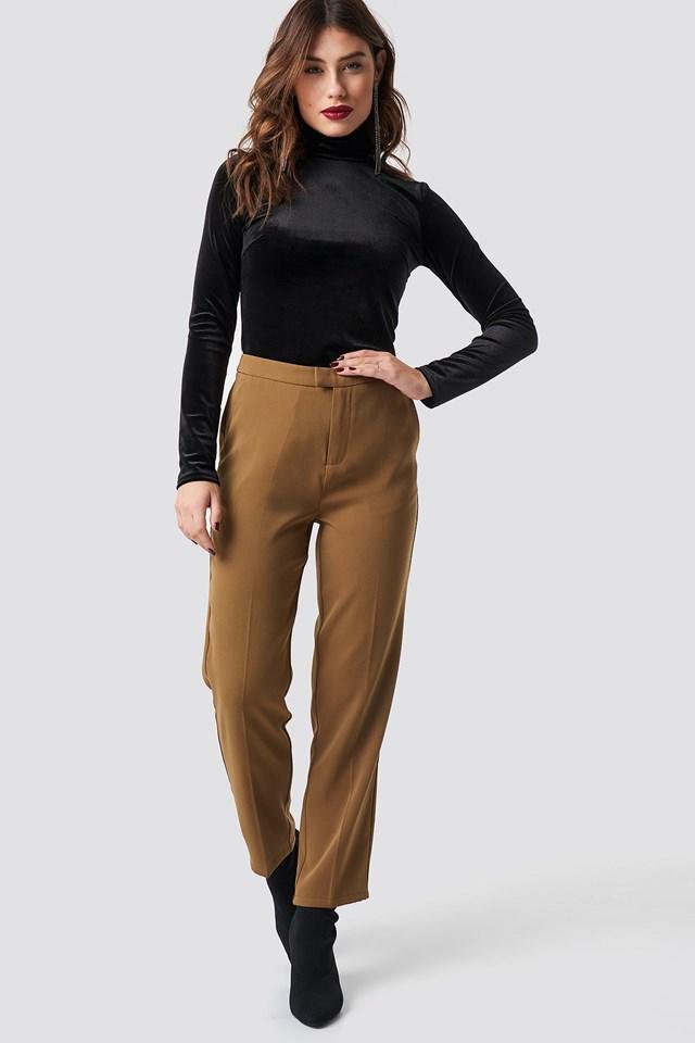 Velvet Polo Top Outfit