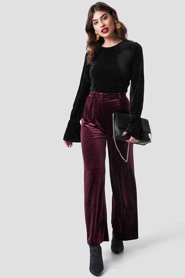 Striped Velvet Long Sleeve Top Outfit