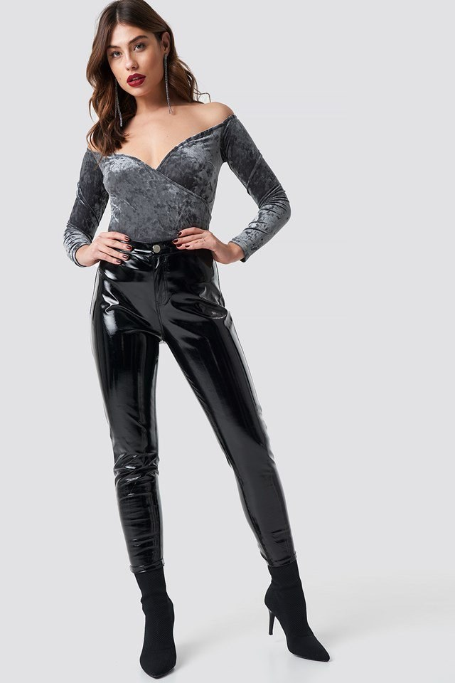 Velvet wrap top with patent pants and black sock boots.