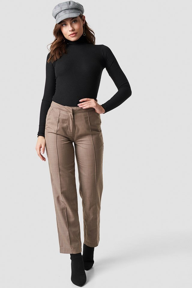Ribbed Polo Long Sleeve Top Outfit