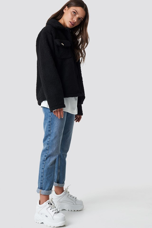 Teddy Short Jacket Black Outfit