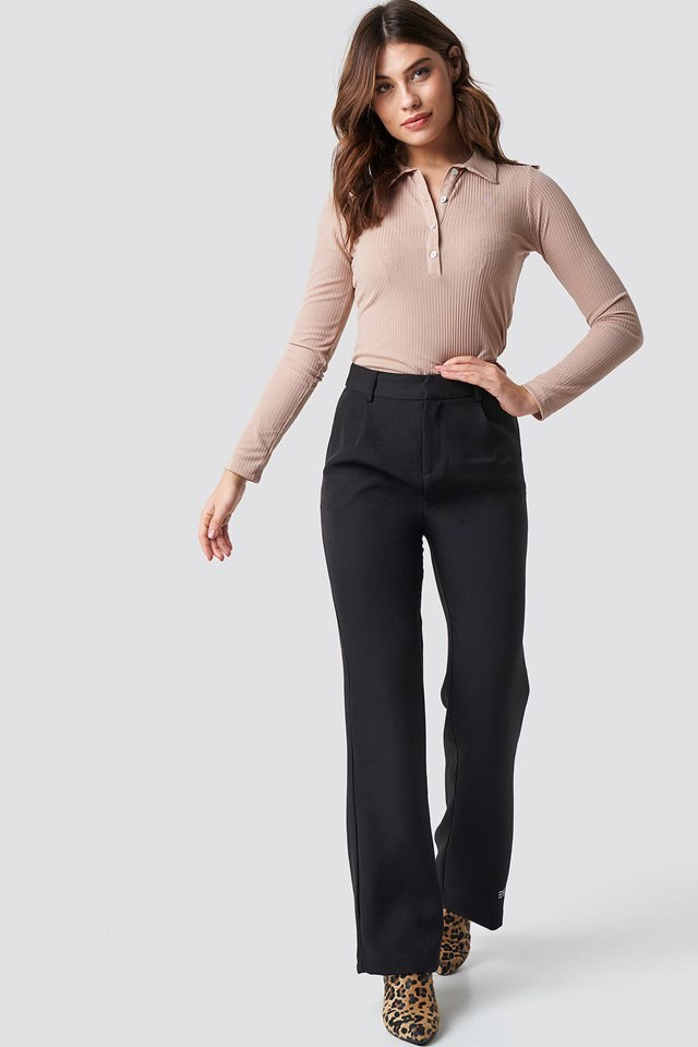 Polo Collar Knitted Blouse Outfit