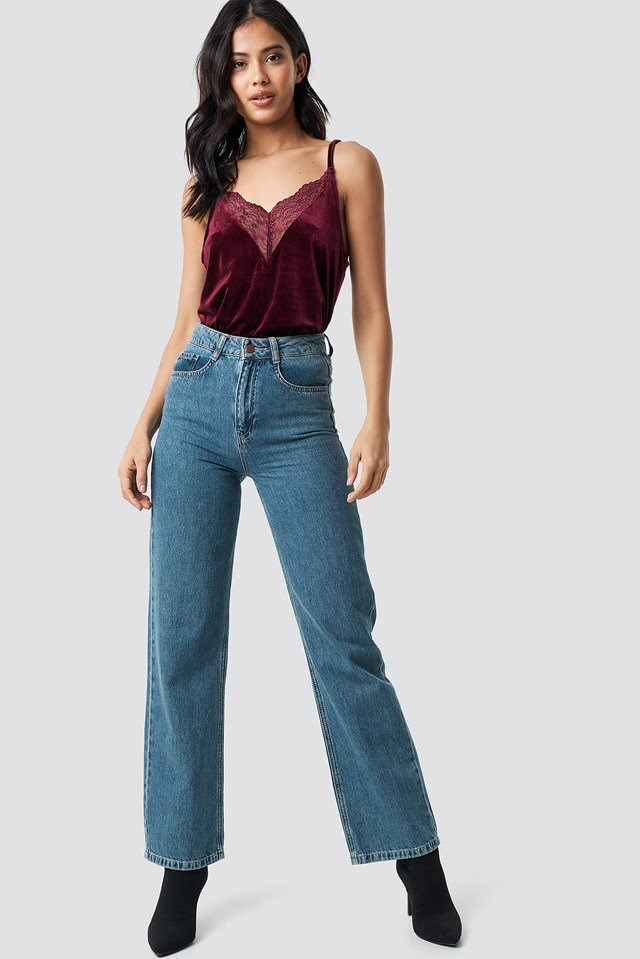 Casual velvet lace singlet outfit
