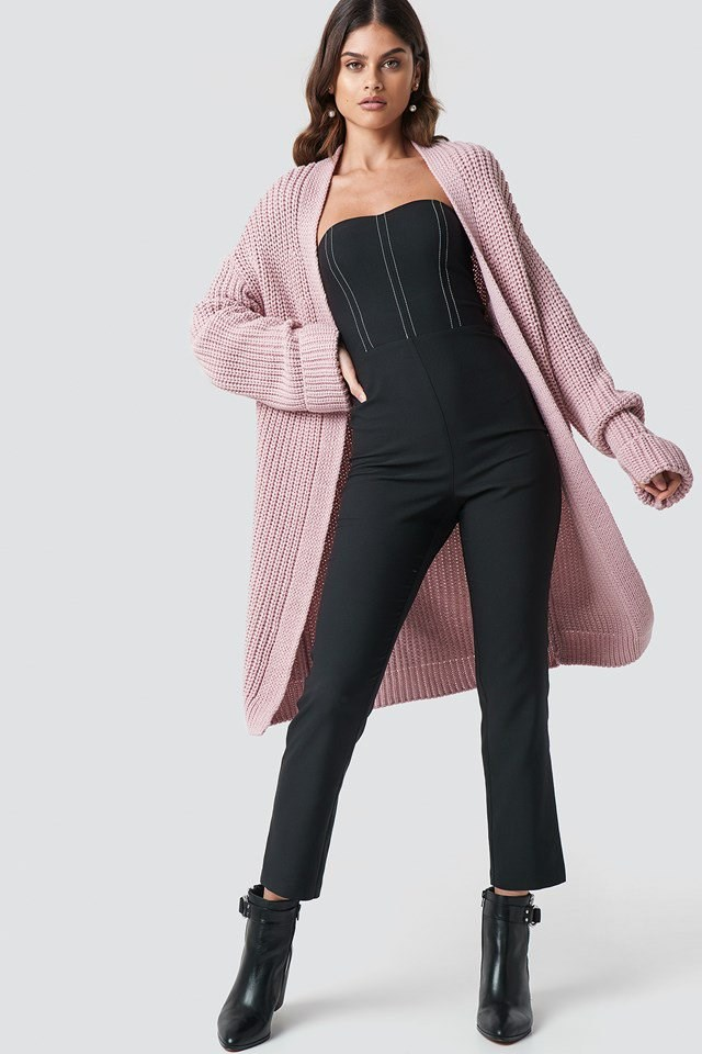 Pink long knitted cardigan outfit