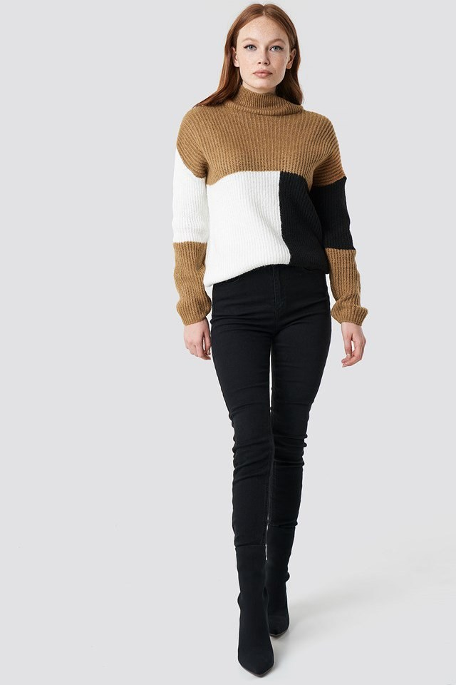 High Neck Color Block Sweater Outfit