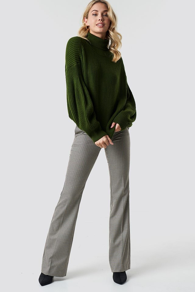 Balloon Sleeve Knitted Polo Jumper Outfit