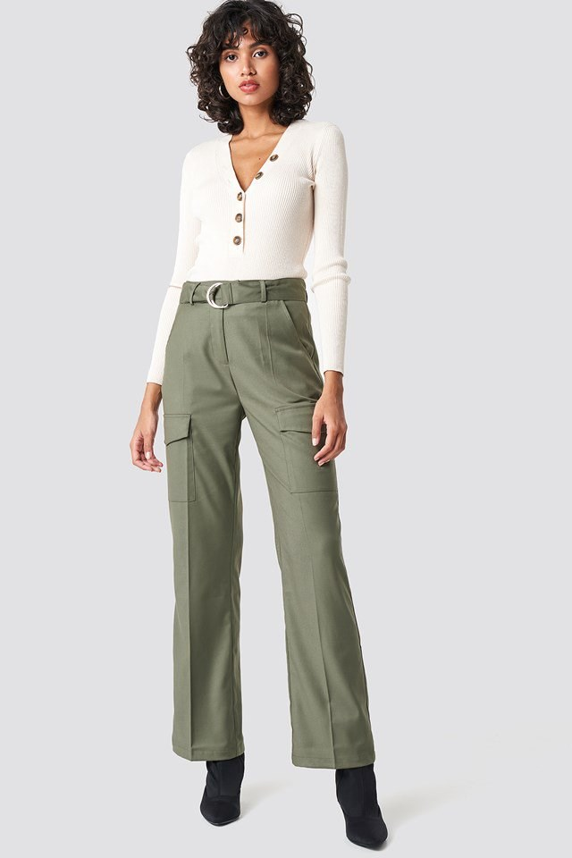 Patch Pocket Belted Pants Outfit
