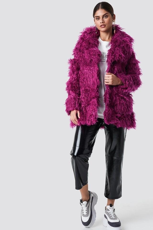 Purple Fur Coat X Leather Pant Outfit