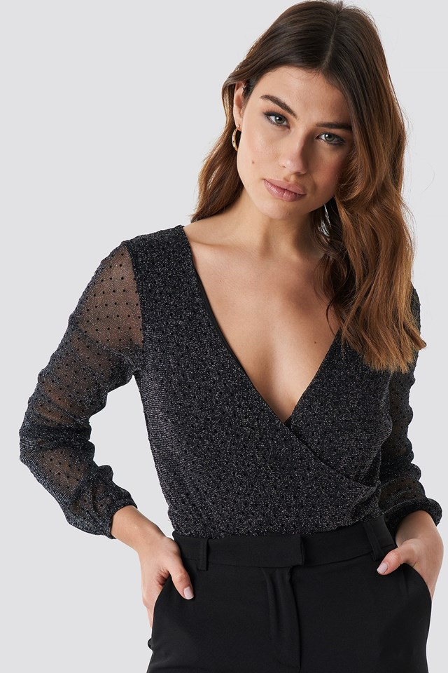 Deep V-Neck Glitter Top Black Outfit