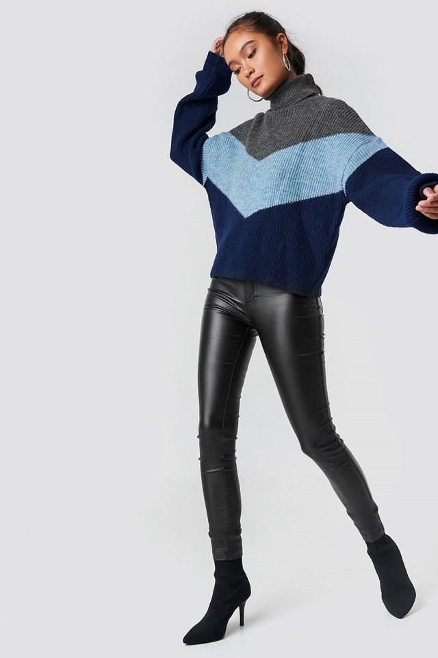 Color Blocked Turtleneck Sweater.