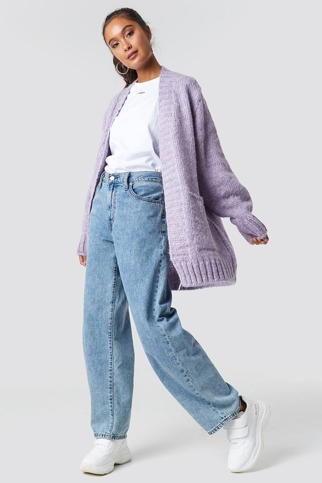 Purple Knitted Cardigan.