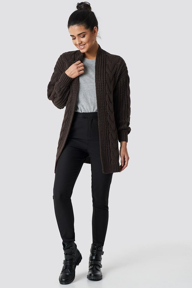 Cable Knit Long Cardigan Outfit