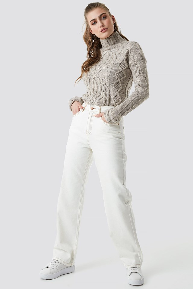 Cable Knitted Polo Sweater Outfit