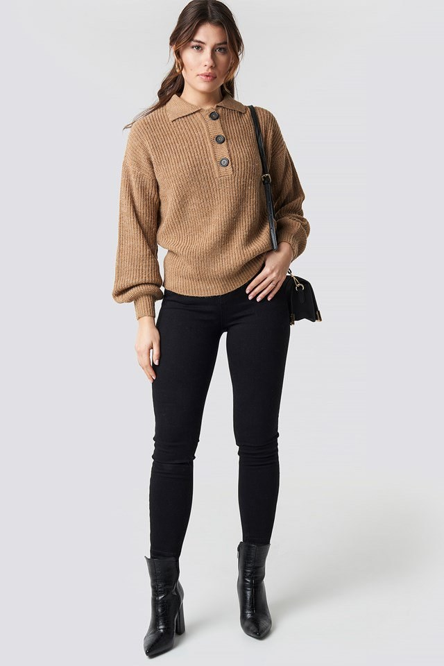 Beige Knitted Sweater Outfit