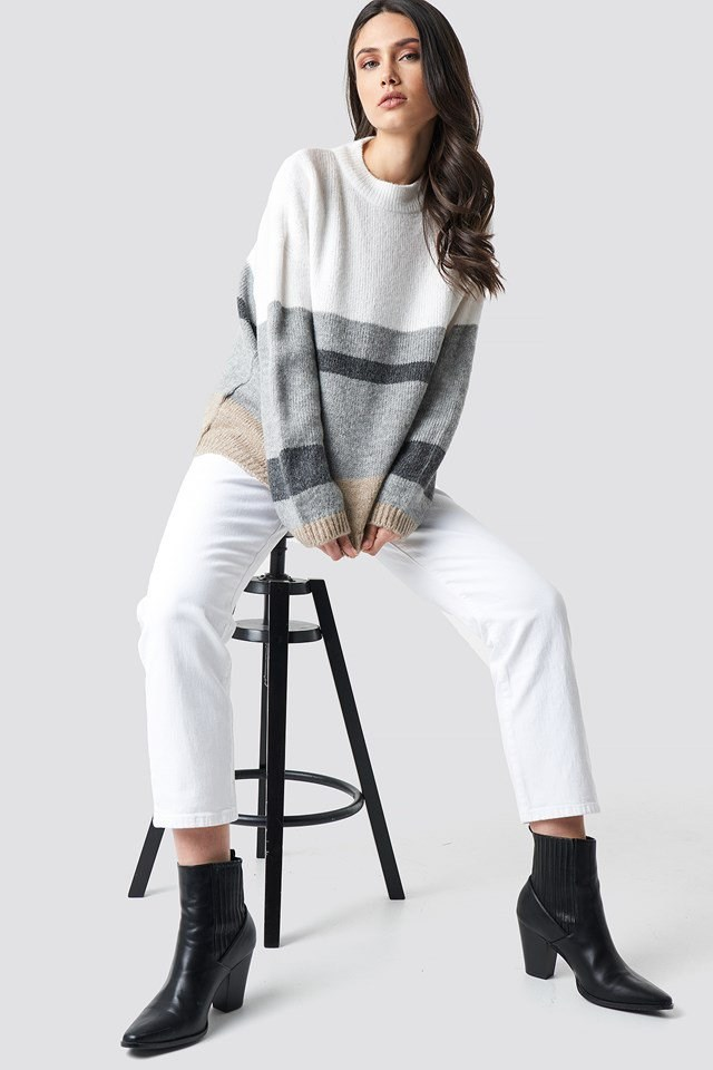 Wide Sleeve Blocked Colour Sweater.