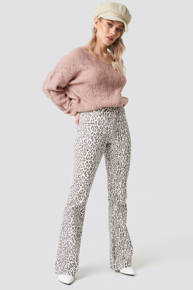 Leopard Flared Denim Outfit