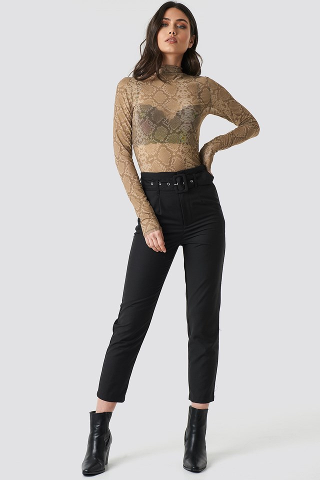 Printed Polo Neck Mesh Top Outfit
