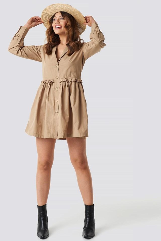Oversize Ruffle Detail Shirt Dress Outfit