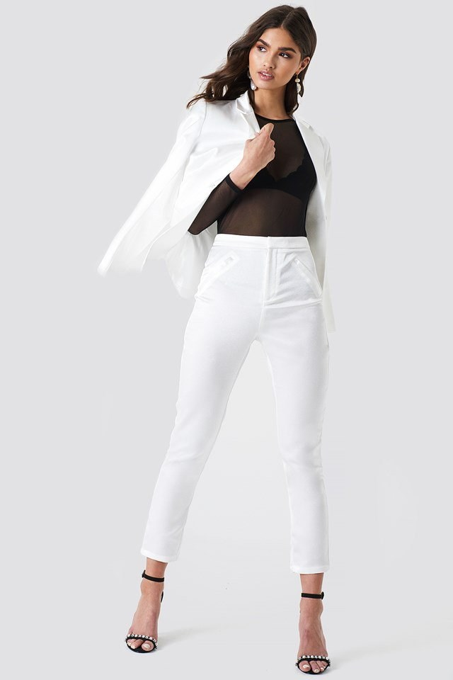 Satin Suit Pants White Outfit