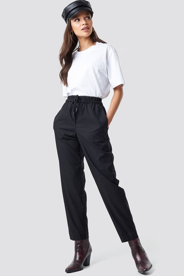 Black trouser outfit.