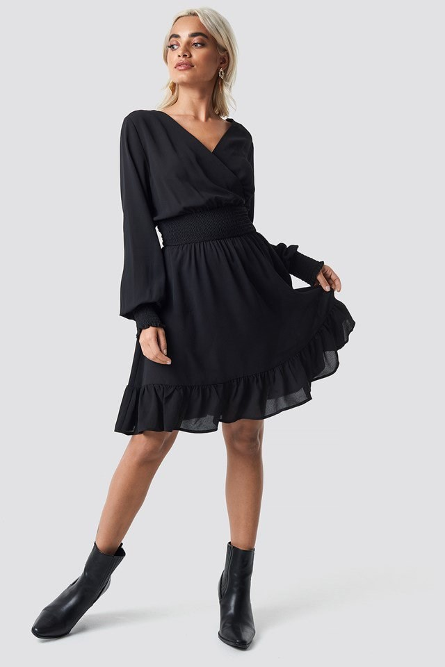 Wrap Over Smock Waist Dress Black Outfit