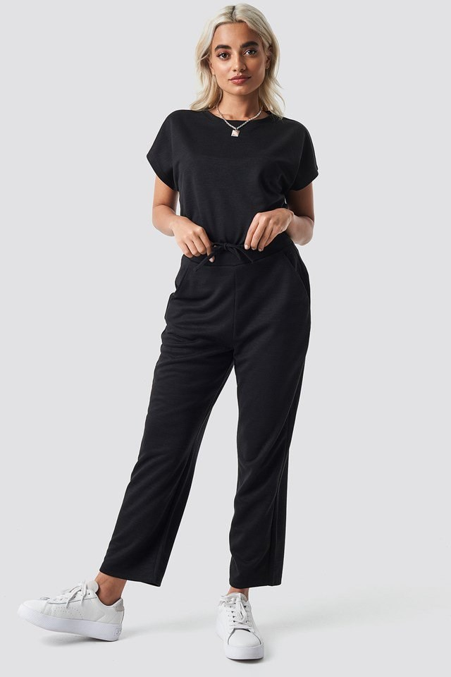 Basic Slip Pants Black Outfit