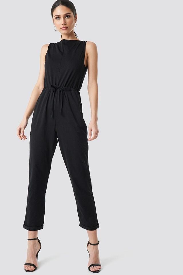 Tie Waist Jersey Jumpsuit Black Outfit