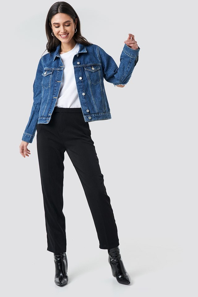 Cut Out Sleeve Denim Jacket Blue Outfit