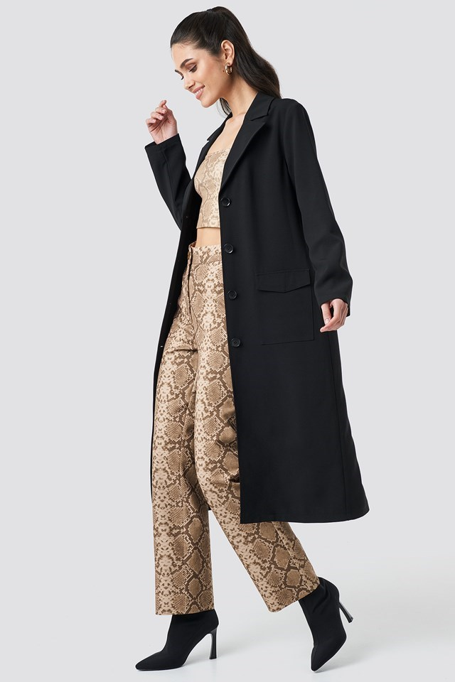 Front Button Ankle Coat Black Outfit