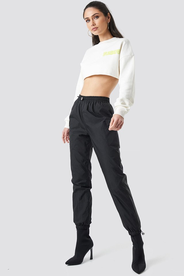Track pants outfit.
