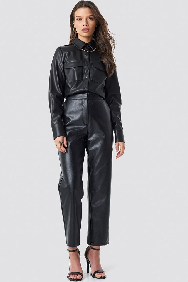 PU Leather Shirt Black Outfit