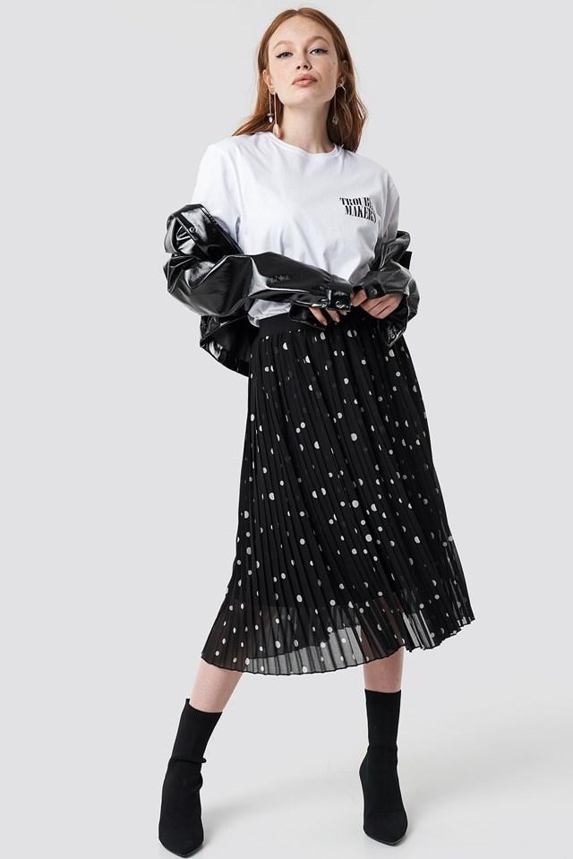 Polka Dot Print Midi Skirt Outfit